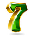 gold and green number 7 isolated on white vector image vector image