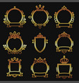 gold heraldic baroque frame set on black vector image