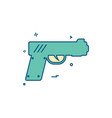 gun pistol police weapon icon design vector image vector image