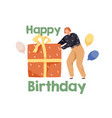 happy birthday concept with person pushing huge vector image vector image