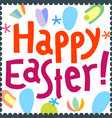 happy easter greeting card design template happy vector image