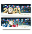 happy new year banners with presents and vector image