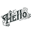 Hello spring Hand drawn vintage lettering with vector image