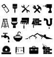 home improvement and renovation icon set vector image vector image