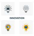 innovation icon set four elements in diferent vector image vector image