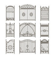 iron gates with decorative elements vector image