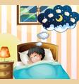 kid sleeping in bed dreaming vector image vector image