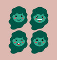 little green girls emoticon set kawaii characters vector image vector image