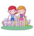 little kids couple in the garden characters vector image vector image