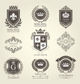 luxurious heraldic emblems and badges with shields vector image