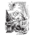 man painting repositories of medieval vintage vector image vector image