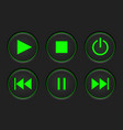 media player main buttons set black and green vector image