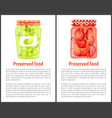 preserved food cooked pickled pepper and olives vector image