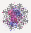 round floral ornament with watercolor splash vector image vector image