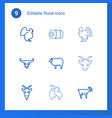 rural icons vector image vector image