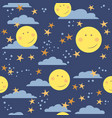 seamless childish pattern with moons stars vector image