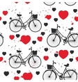 seamless pattern black bike and red heart on white vector image vector image