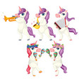 set musician unicorn vector image vector image
