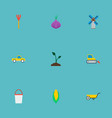 set of agricultural icons flat style symbols with vector image vector image