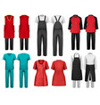 set of overalls with worker and shefcooks vector image