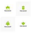 set of tree house logo template leaf house logo vector image vector image