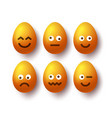 set yellow easter eggs with emojis realistic vector image vector image