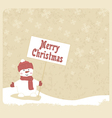 snowman with greetings vector image vector image