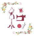 tailor sewing knitting vintage needle logo set vector image vector image