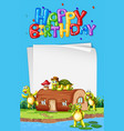 turtle next to the house birthday template vector image vector image