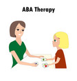 woman and girl pointing aba activities cards one vector image