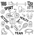 set of sports line art vector image