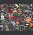 mexico hand drawn sketch set chalkboard vector image