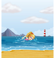 A girl swimming at the sea with a beacon at the vector image vector image