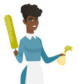 african housemaid holding spray bottle and duster vector image vector image