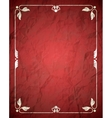 Aged crumpled red frame with vintage ornament vector image vector image