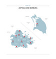 antigua and barbuda map with red pin vector image vector image