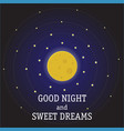art moon and stars in midnight art style vector image vector image