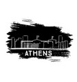 athens skyline silhouette hand drawn sketch vector image vector image