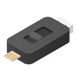 black usb flash icon isometric style vector image