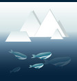blue whales family deep in the ocean with iceberg vector image vector image