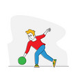 bowler male character wearing casual clothing vector image