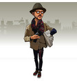 cartoon man in a hipster clothes with a bottle vector image vector image