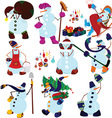 cartoon snowman set and presents vector image vector image