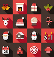 christmas and new year icon set in flat design vector image