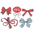 collection hand drawn bows vector image