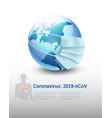 coronavirus covid-19 earth globe wearing vector image