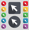 Cursor arrow icon sign A set of 12 colored buttons vector image vector image