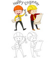 doodle happy engineer character vector image vector image