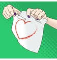 female hands tearing paper vector image