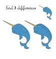 Find differences kids layout for game narwhal vector image vector image
